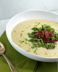 { Summer Corn Soup with Padron Peppers and Bacon } @Lisa |Authentic Suburban Gourmet