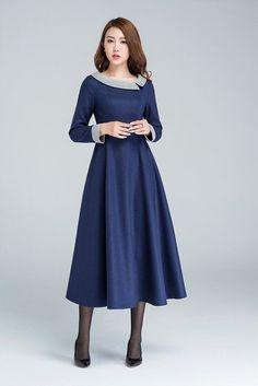 Vestido de lana azul, vestido maxi, vestido invierno, vestido de fiesta, vestido moderno, vestidos de las señoras, vestido hecho de encargo, tallas grandes ropa 1611