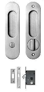 Round Pocket Door Hardware something similar would work for double pocket door locking device