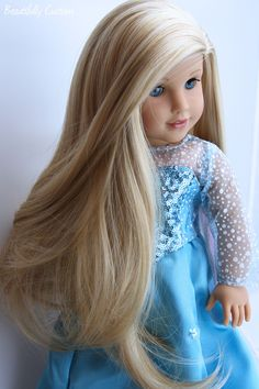 """Custom OOAK American Girl Doll ~ Blue Eyes and Extra Long Blonde Hair with Highlights - Grace Thomas, with freckles removed, and custom wig. - Wearing a beautiful sparkling blue princess snowflake dress, she could be your """"Elsa"""" www.facebook.com/beautifullycustom"""