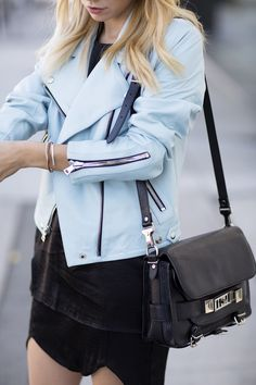 Powder blue leather jacket and PS11