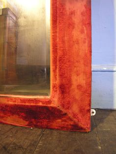 A Large 19th Century Victorian Red Velvet Framed Bevel Edge Wall Mirror from HUTCHISONANTIQUES.COM