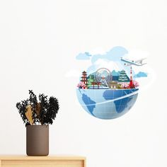 Landmark Global Travel Journey Japan Fuji Sakura Plane Removable Wall Sticker Art Decals Mural DIY Wallpaper for Room Decal Japan Sakura, Diy Wallpaper, Removable Wall Stickers, Wall Decor, Wall Art, Fuji, Plane, Decorative Bowls, Decals