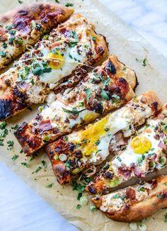 burrata breakfast pizza I howsweeteats.com #breakfast #burrata #pizza #breakfastpizza