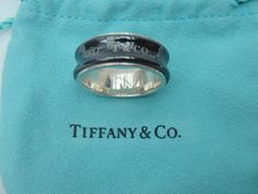 Lovely Authentic Tiffany & Co. Sterling Silver and Titanium 1837 Ring - Size 5 3/4 by Tiffanytreasureshop on Etsy