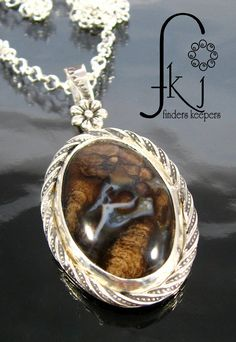 "Little Dancer Silver Gemstone Cabochon Pendant Necklace, Stromatolite Cabochon, 18"" Sterling Rolo Necklace, Handcrafted Jewelry, A by FKJewelryDesigns on Etsy"