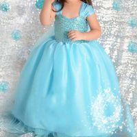 1 Pc Summer Girls Blue Sequins Ball Gown Dress Sleeveless Gauze ...