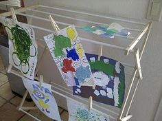 Use a drying rack to dry kid's art