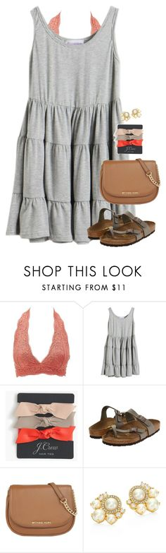 """""""I can't stop thinking about you."""" by amberfmillard-1 ❤ liked on Polyvore featuring Charlotte Russe, J.Crew, Birkenstock, MICHAEL Michael Kors and Kate Spade"""