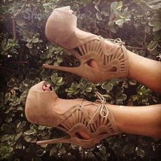 nice Fashionable Camel Cut-Outs Peep Toe Lace-Up High Heel Boots