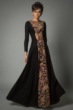 black with center detailing. interesting concept and very well made anarkali                                                                                                                                                                                 More