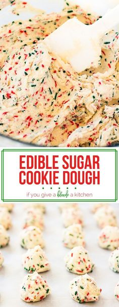 Cookie Dough Edible sugar cookie dough is a festive dessert to make for Christmas, birthdays and more celebrations! This eggless recipe uses heat-treated flour so it is safe to eat for everyone! Edible Sugar Cookie Dough, Edible Cookies, Cookie Dough Recipes, Sugar Dough, Sugar Cookie Recipe Eggless, Cookie Dough Cake Pops, Baking Cookies, Christmas Desserts, Christmas Baking