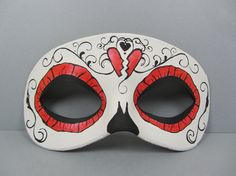 Day of the Dead metallic red swirl leather mask by maskedzone, $30.00
