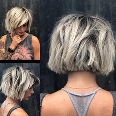 Kurzes abgehacktes Haar , Short Choppy Hair , Hair styles Source by Try On Hairstyles, Short Hairstyles For Women, Short Haircut For Girls, Blonde Short Hairstyles, Messy Bob Hairstyles, Stylish Hairstyles, Hairstyle Short, Medium Hair Styles, Curly Hair Styles