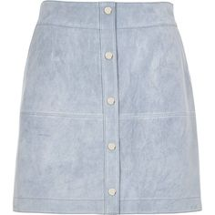 River Island Light blue suede button-up A-line skirt (130 CHF) ❤ liked on Polyvore featuring skirts, bottoms, a line skirts, blue, women, tall skirts, button front skirt, blue a line skirt, blue skirt and knee length a line skirt
