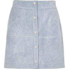 River Island Light blue suede button-up A-line skirt (£41) ❤ liked on Polyvore featuring skirts, bottoms, faldas, blue, sale, women, blue a line skirt, button front skirt, a line skirt и knee length a line skirt