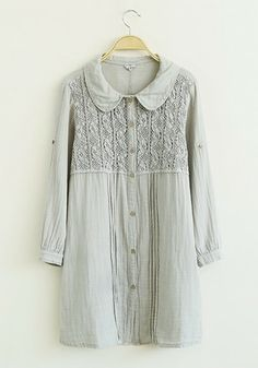 Grey Flowers Lace Round Neck Flax Blend Blouse