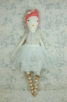 Handmade Rag Dolls by Gaiia Kim, One-of-a-Kind Cloth Doll, Ballerina No 54. $125.00, via Etsy.