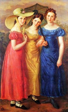 ▴ Artistic Accessories ▴ clothes, jewelry, hats in art - Unknown Artist | Regency fashion in bright colors