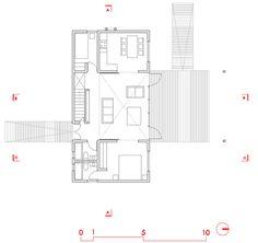 Casa Klotz by Mathias Klotz photographed by Roland Halbe [floor plan : level Architecture Design, Timber Boards, Ground Floor Plan, Wooden Decks, Prefab Homes, Large Bedroom, Beach House, House Plans, Floor Plans