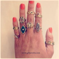 Want something different? Here's a selection of unique gold rings circa 1890-1940 with diamonds, gemstones and agate. #giltjewelry #antiquejewelry #gold #victorian #deco #retro #righthand #fashion #nw23rd
