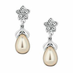 Jon Richard Isabella crystal and pearl flower drop earring- at Debenhams.com