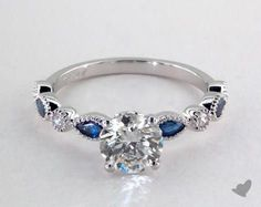 49490 engagement rings, side stones, vintage round diamond and marquise sapphire engagement ring item - Mobile