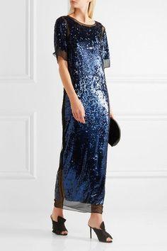 By Malene Birger | Lines sequined stretch-mesh maxi dress | NET-A-PORTER.COM