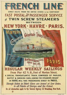 French Line - New York - Havre - Paris - 1901 -