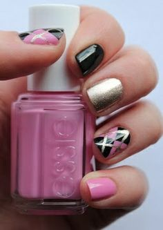pink and black argyle nails - Google Search