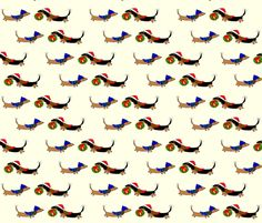 Dachshunds with Holiday Wreath by Sudachan fabric by sudachan on Spoonflower - custom fabric