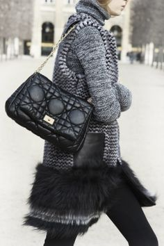Chic cold weather street style. #Dior