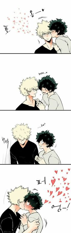 Katsuki, Izuki, yaoi, kissing, comic, text, funny, cute, blushing; My Hero Academia