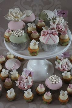 Cupcakes made for The Vintage Occasion's display at Ludlow Castle Wedding Fair. Vintage Wedding Cupcakes, Wedding Cake Roses, Wedding Cakes With Cupcakes, Mini Cupcakes, Fondant Cupcake Toppers, Cupcake Cookies, Macarons, Wedding Shower Decorations, Beautiful Cupcakes