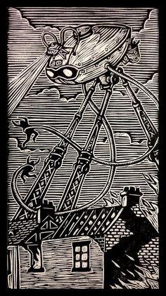 War of the Worlds woodblock print | Brian Reedy