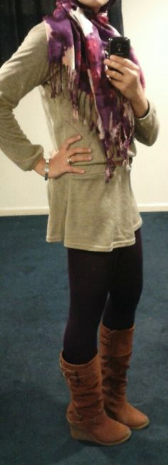 Fashion & Style Fusion blog, #ootd #hootd #outfit #fashion #style #workoutfit #casual #boots #brown #taupe #magenta #scarf