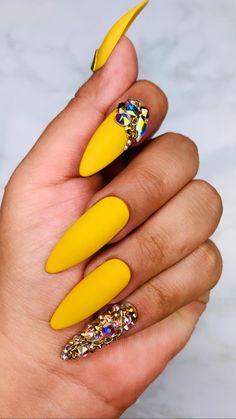 beautiful spring nail art designs 53 ~ Comfortable Home Bright Summer Acrylic Nails, Best Acrylic Nails, Nail Art Designs, Acrylic Nail Designs, Bling Nails, Glitter Nails, Rhinestone Nails, Yellow Nails Design, Black Stiletto Nails