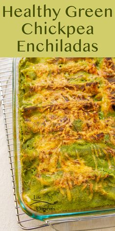 A twist on traditional enchiladas, these Healthy Green Chickpea Enchiladas are filled with chickpeas, corn, and tomatoes, and baked in a creamy spinach sauce until the sauce thickens, and the meal is delicious!