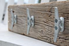 Nautical coat rack with boat cleats made from by DocksideCottage Boat Cleats, Bathroom Signs, Room Themes, Nautical Theme, Coastal Decor, Accent Pieces, Wood Signs, Decoration, Wood Projects