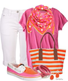"Pink & Orange 2013 - I would change the bag to be in a Chevron pattern. ""Summer Brights"" on Polyvore"