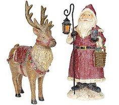 Vintage Frost Santa and Reindeer Figurines by Valerie Parr Hill for QVC