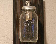 Pallet Wood Sconce Lighting - Mason Jar Sconce - Rustic Sconce - Wall Lighting - Rustic Lighting - Ball Jar Lighting