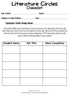 Literature Circle Printables. TPT Free. Doing these this week!