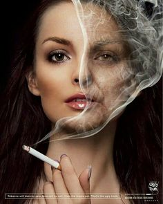 50 genius print ads with brilliant design techniques I just saw that this ad reads sex in the smoke, by her hairline, hmm. I don't think so. Creative Advertising, Social Advertising, Ads Creative, Creative Posters, Advertising Poster, Advertising Campaign, Advertising Design, Advertising Ideas, Poster Design