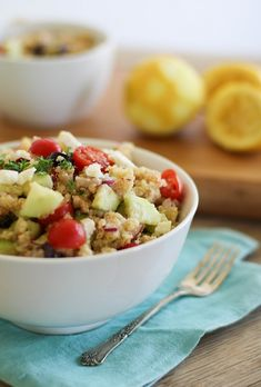 Great-looking Greek Quinoa Salad -- just skip the feta for Phase 3.