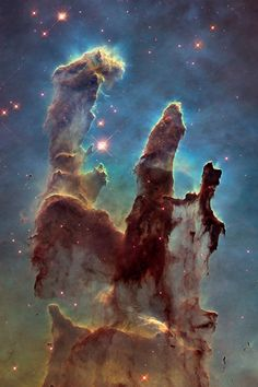 "Astronomers using NASA's Hubble Space Telescope have assembled a bigger and sharper photograph of the iconic Eagle Nebula's ""Pillars of Creation"". Credit: NASA/ESA/Hubble Heritage Team (STScI/AURA)/J. Hester, P. Scowen (Arizona State U. Outer Space Pictures, Space Photos, Space Images, Nasa Hubble Images, Hubble Pictures, Hubble Photos, Hubble Galaxies, Astronomy Pictures, Hubble Space Telescope"