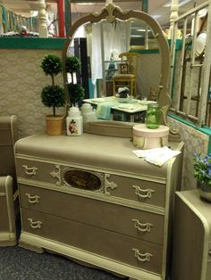 Vintage waterfall dresser, painted in Annie Sloan's Cocoa and Country Grey. Pretty details and more ornate than a typical waterfall set.