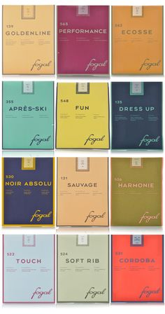 The branding and the colors of the above packaging from Fogal, a Swiss legwear and kniwtare company is really doing it for me today.