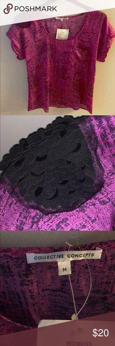NWT Collective Concepts Purple Shoulder Sequin Top New with tags collective concepts purple top. Tags attached.  Black sequin shoulder detail. Size medium Collective Concepts Tops Blouses