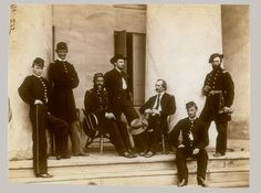 General Gustavus A. DeRussey (third from left) and Staff on Portico of Arlington House - Arlington, VA, May 1864 Confederate States Of America, America Civil War, Us History, American History, American War, American Soldiers, Arlington House, Arlington Virginia, Robert E Lee